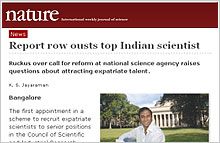 Article in Nature on V.A. Shiva: Report row ousts top Indian scientist